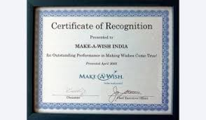 Making A Certificate Award And Recognition Make A Wish India