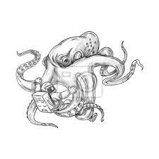 Fototapeta Obří Chobotnice Boj Astronaut Tetování