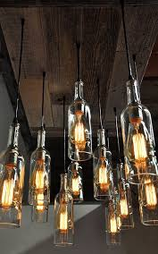 oversized reclaimed wood wine bottle chandelier dining room lighting wine bar lighting bar lighting ideas