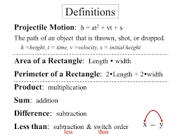 equations g quadratic word problems objective to solve word problems 2 definitions projectile