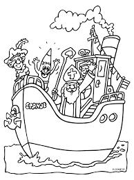 Kleurplaat Sinterklaas Op De Pakjesboot Kleurplatennl