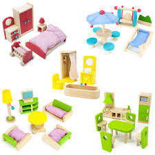 cheap wooden dollhouse furniture. The Fully Furnished Bundle: 5 Sets Of Colorful Wooden Dollhouse Furniture (41 Pieces) Cheap .