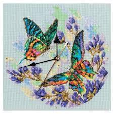 <b>Набор для вышивки</b> крестом часов с бабочками от <b>РТО</b> M40014 в ...
