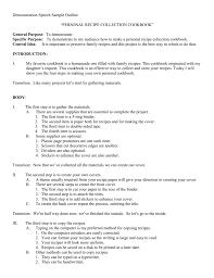 Demonstration Speech Outline Demonstration Speech Sample Outline