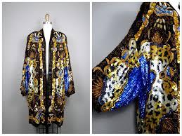 Vtg Sequin Kimono Jacket Bohemian Novelty Open Kaftan Black