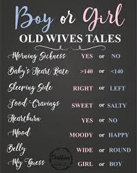 Gender Wives Tales Chart Instant Download Old Wives Tales Gender Reveal Poster