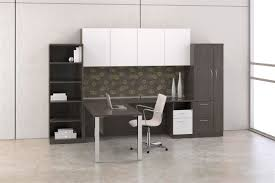 amazing grey office furniture with l shape design combined wooden materials in dark accentuate and twin tower open shelves organizer cabinet featuring white amazing gray office furniture