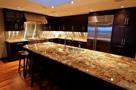 kitchen long cream brown granite counter top on the black wooden kitchen also 40 inspiration