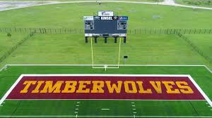 beaumont independent school district s new artificial turf with the timberwolves and bruins labeled in the end