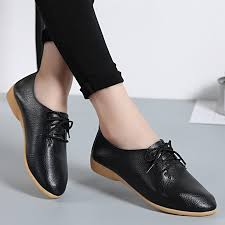 size 35 44 leather shoes women flats pointed toe oxford shoes lace up moccasins summer flat white black oxfords rubber sole color beige shoe size 4 5