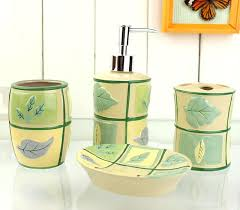 brown and green bathroom accessories. Brown Bathroom Accessories Sets Grid Leaves Pattern Yellow Bath Accessory Contemporary Green And R