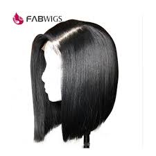 Fabwigs 180 Density Straight Lace Front Human Hair Wigs Bob