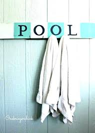 outdoor pool towel hooks pottery barn inspired sign wall custom