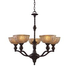 titan lighting norwich 5 light oiled bronze chandelier with amber glass shades