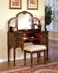 ashton walnut finish vanity table with stool set by acme furniture