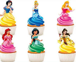 Disney Princesses Edible Stand Up Wafer Paper Cupcake Toppers
