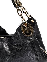 fulton large black leather shoulder bag michael kors