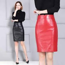 Women <b>Sheepskin</b> Slim Hip over the knee Genuine <b>Leather Skirt</b> ...
