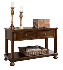 porter traditional rustic brown wood sofa console table wstorage