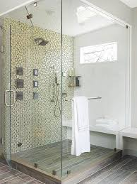 large mosaic tiled walk in shower space