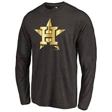 Collection Houston Tri-blend T-shirt - Black Gold Long Store Sleeve Astros