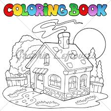 coloring book with small house vector ilr