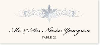 Holiday Placecards Snowflake Winter And Holiday Themed Wedding Place Cards And Escort