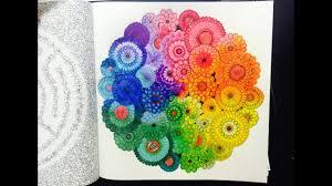 secret garden colouring book rainbow flowers with colour pencil