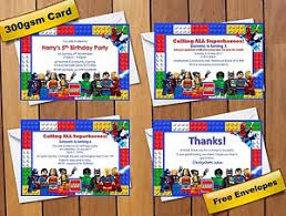 superheroes birthday party invitations lego marvel comic superhero birthday party invitations thank you