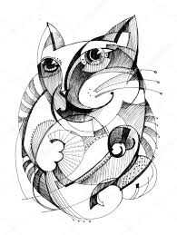abstract drawing cat abstract drawing stock photo alfaolga 7236036