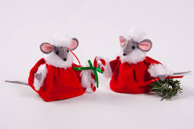 Festive Christmas Mice Tree Decorations - Plaid Tidings
