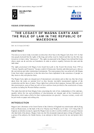 Pdf The Legacy Of Magna Carta And The Rule Of Law In The