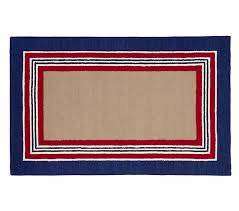 tailored striped rug navy red