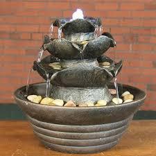 table fountain. polyresin 3-tier cascading tabletop fountain with light table 3