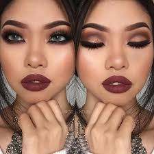 makeup for black dress with burdy lipstick jumpsuit