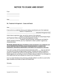 Trademark Cease And Desist Letter Template Samples Letter Cover