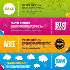 Flyer Brochure Designs Sale Icons Special Offer Speech Bubbles