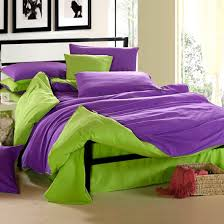 5 piece purple and green duvet and bed sheet set