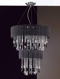 contemporary crystal chandelier featuring two round drum shaped shades in either black pink or red organza generously adorned with swathes of octagonal