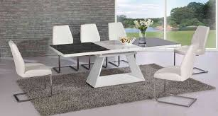 white high gloss extending glass dining table and 6 chairs set