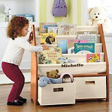 kids sling bookshelf with storage bins natural natural