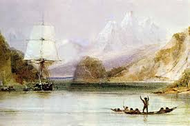 charles darwin on a sea inlet surrounded by steep hills high snow covered mountains in
