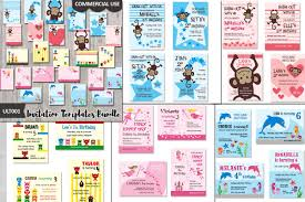 kids birthday party invitations templates bundle kids birthday party invites cards