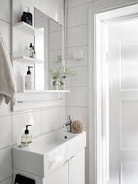 finding small bathroom tile ideas narrow sink for a small fresh white bathroom in a swedish space