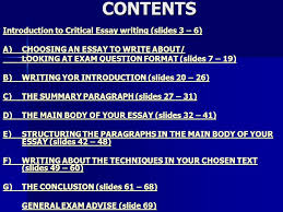 the critical essay ppt video online contents introduction to critical essay writing slides 3 6
