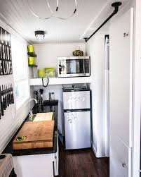 shoebox tiny home eclectic kitchen