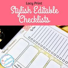 Daily Checklist Planner Editable Lesson Planner Daily Checklist Lace Print By Carrberry