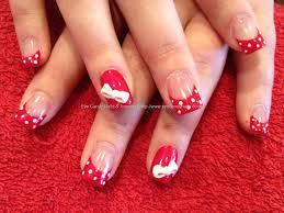 Eye Candy Nails & Training - Acrylic nails with painted red tips ...