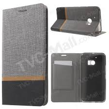 cross texture card holder leather cover for htc 10 with manganese steel sheet grey