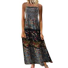Womens Cami Bohemian Dress Vintage Floral Print Pleated